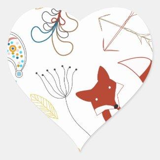 Personalize Modern Fox Woodland Pattern Stickers