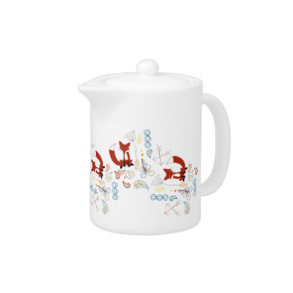 Personalize Modern Fox  Woodland Pattern Teapot