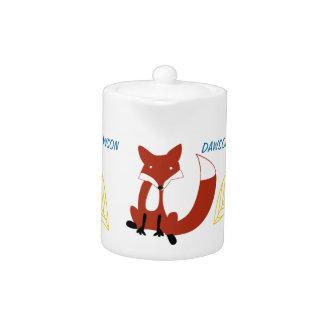 Personalize Modern Fox  Woodland Pattern Teapot