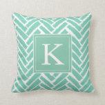 Personalize Modern Herringbone Pattern Pillow