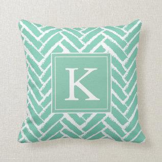 Personalize Modern Herringbone Pattern Pillow at Zazzle
