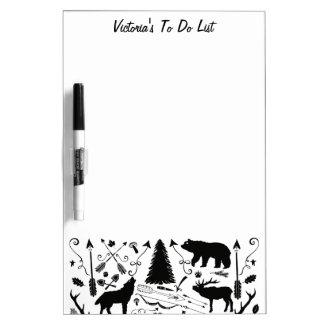 Personalize Modern Wolf Woodland Pattern Dry Erase Board