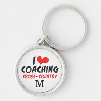 Personalize Monogram I love Coaching Cross Country Keychain