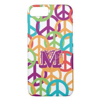 Personalize Monogram Modern Peace Symbols iPhone 8/7 Case