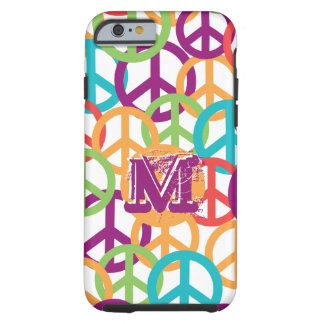 Personalize Monogram Modern Peace Symbols Tough iPhone 6 Case