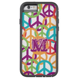 Personalize Monogram Modern Peace Symbols Tough Xtreme iPhone 6 Case