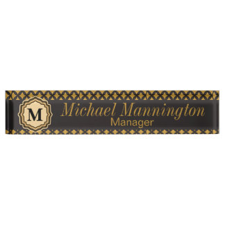 Personalize, Monogram Pattern Name Plate Desk Name Plates