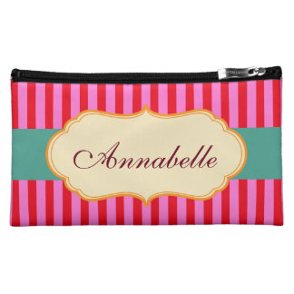 Personalize Monogram Teal Candy Stripes Pattern Cosmetic Bag