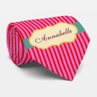 Personalize Monogram Teal Candy Stripes Pattern Neck Tie
