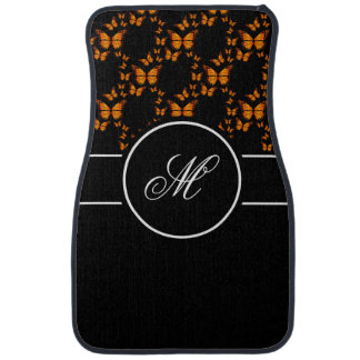 Personalize Monogram Women's Orange Butterfly Car Floor Mat