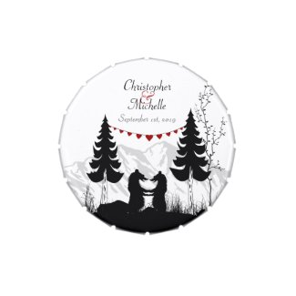 Personalize Mountain Bears Wedding Favor Candy Tin