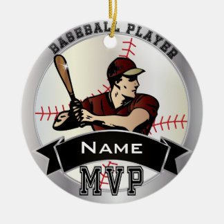 Personalize MVP Baseball Ceramic Ornament