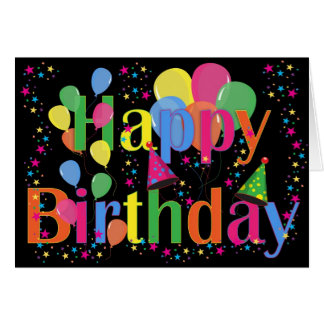 Personalize Name Birthday Party Celebration Art Greeting Card