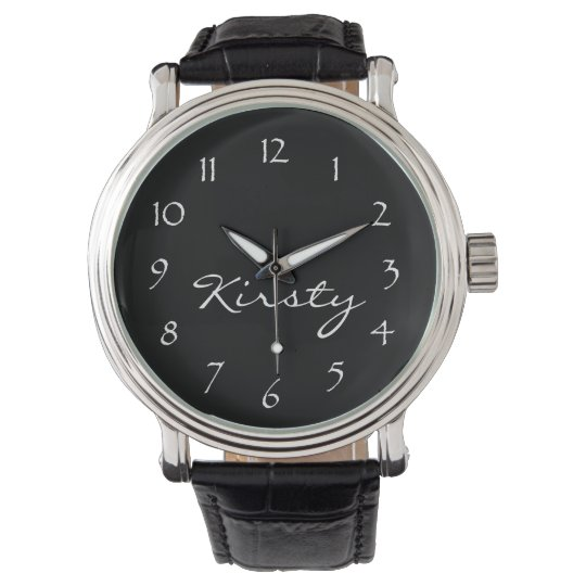 Personalize Name-Black Face/White Numbers Wrist Watches