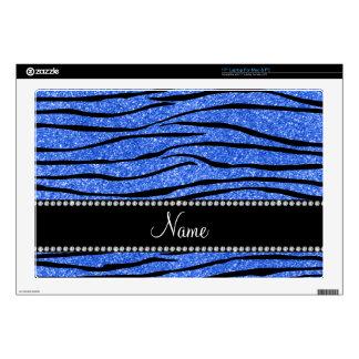 "Personalize name blue glitter zebra stripes 17"" laptop skin"