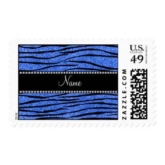 Personalize name blue glitter zebra stripes postage