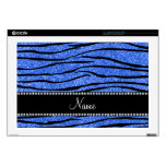 "Personalize name blue glitter zebra stripes 17"" laptop decal"