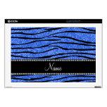 "Personalize name blue glitter zebra stripes 17"" laptop decal"