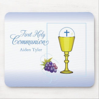 Personalize Name Boy First Communion Chalice, Host Mouse Pad