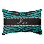 Personalize name bright aqua glitter tiger stripes small dog bed