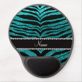 Personalize name bright aqua glitter tiger stripes gel mouse pads