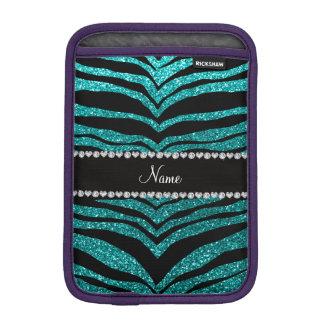 Personalize name bright aqua glitter tiger stripes sleeve for iPad mini