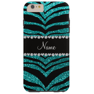 Personalize name bright aqua glitter tiger stripes tough iPhone 6 plus case