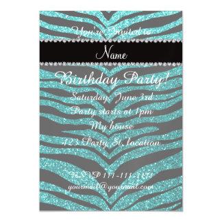 Personalize name bright aqua glitter tiger stripes magnetic invitations