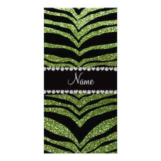 Personalize name bright green glitter tiger strips photo card