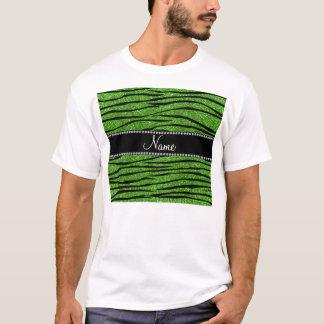 Personalize name bright green glitter zebra stripe T-Shirt