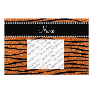Personalize name burnt orange glitter zebra stripe photo print