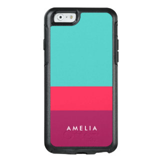 Personalize Name Color Block Turquoise Pink Purple OtterBox iPhone 6/6s Case