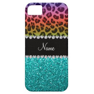 Personalize name colorful leopard aqua glitter iPhone 5 case