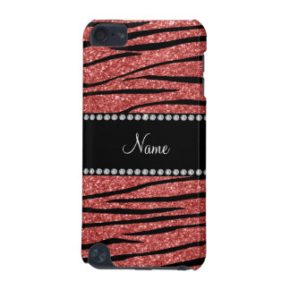 Personalize name coral pink glitter zebra stripes iPod touch 5G cover