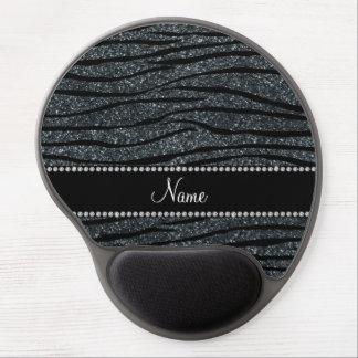 Personalize name dark gray glitter zebra stripes gel mouse pad