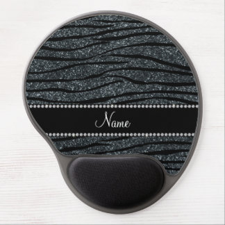 Personalize name dark gray glitter zebra stripes gel mousepads
