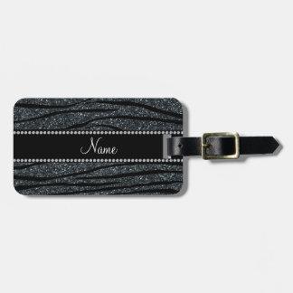 Personalize name dark gray glitter zebra stripes bag tag