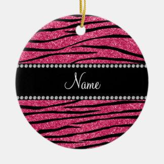Personalize name fuchsia pink glitter zebra stripe ceramic ornament