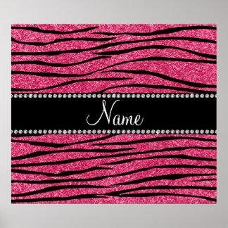 Personalize name fuchsia pink glitter zebra stripe poster