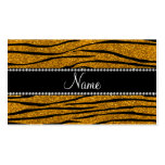 Personalize name gold glitter zebra stripes business card template