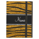 Personalize name gold glitter zebra stripes iPad covers