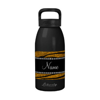 Personalize name gold glitter zebra stripes water bottle