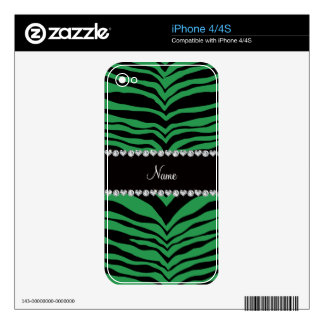 Personalize name green tiger stripes decals for the iPhone 4