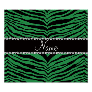Personalize name green tiger stripes posters