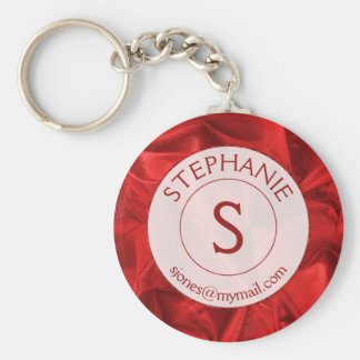 Personalize: Name/ID Red Textured Round Keychain