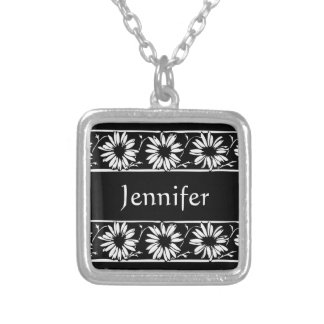 Personalize Name Initials Monogram Daisy Pattern Necklace