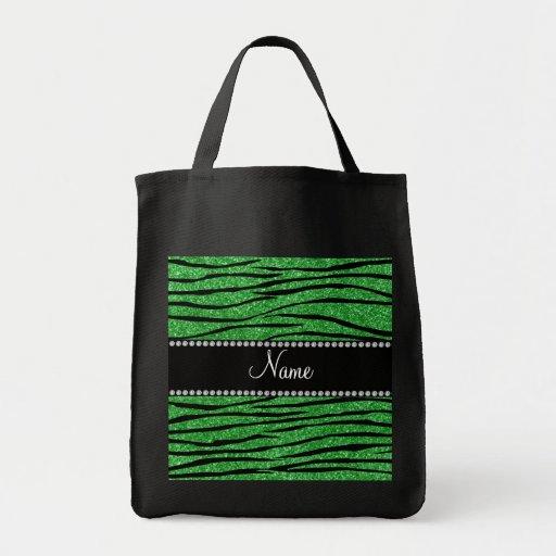 Personalize name light green glitter zebra stripes canvas bags