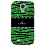 Personalize name light green glitter zebra stripes galaxy s4 case