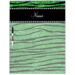 Personalize name light green glitter zebra stripes dry erase whiteboards