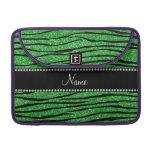 Personalize name light green glitter zebra stripes sleeve for MacBook pro